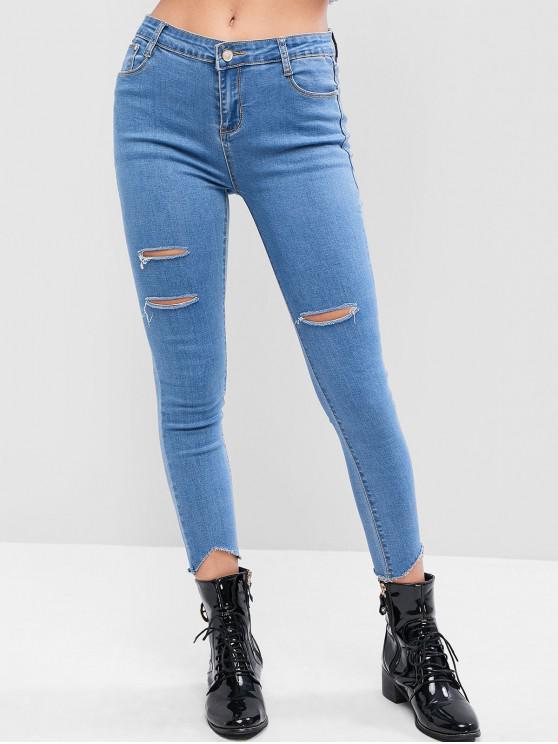lady Distressed Raw Hem Skinny Jeans - JEANS BLUE M