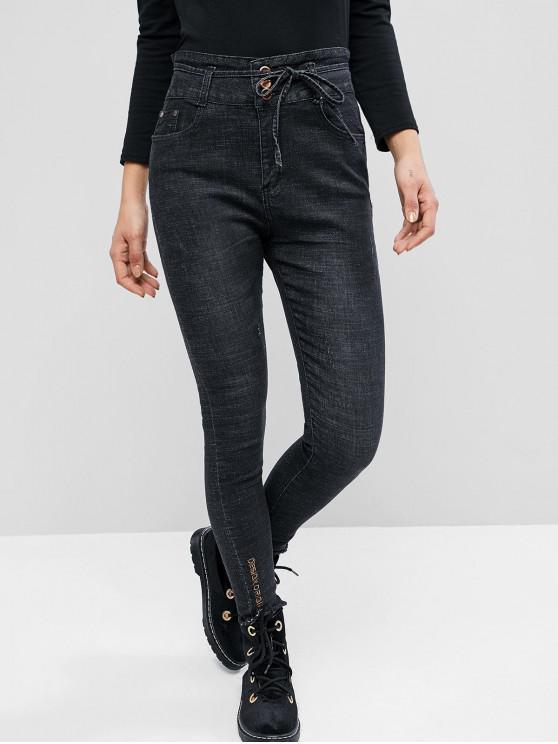 outfit Belted Frayed Hem Letter Embroidered Skinny Jeans - BLACK S