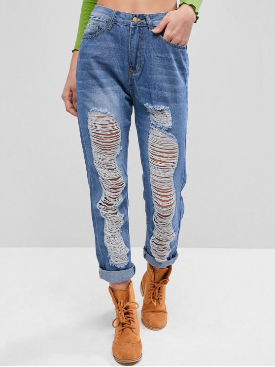 latest Destroyed Straight High Waisted Jeans - JEANS BLUE M