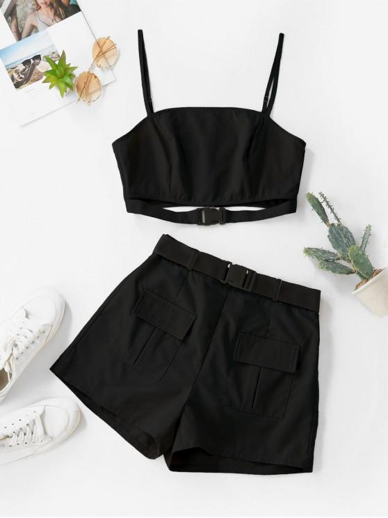 shop ZAFUL Buckle Zip Pocket Belted Two Piece Shorts Set - BLACK XL