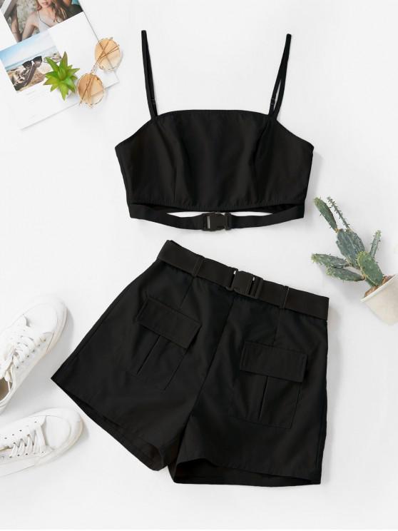 fancy ZAFUL Buckle Zip Pocket Belted Two Piece Shorts Set - BLACK S