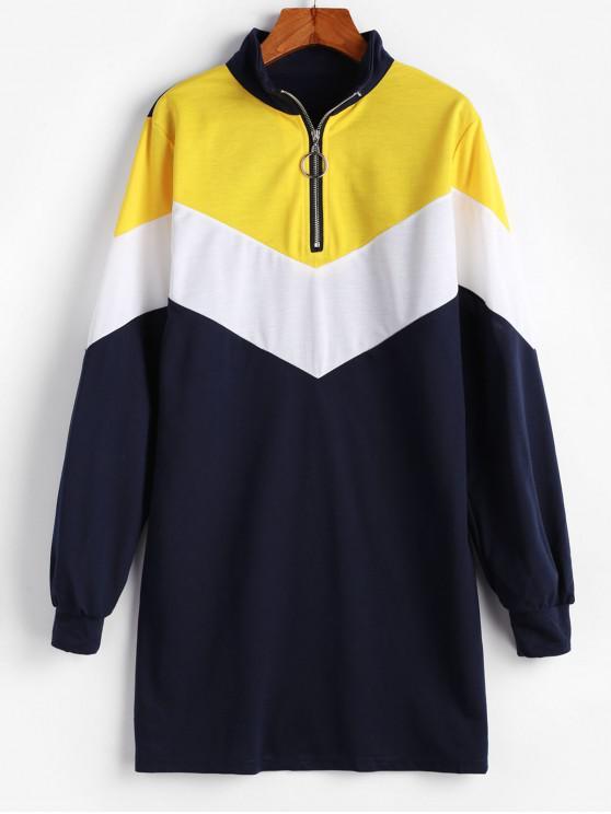 ladies Half Zip Color Block Sweatshirt Mini Dress - MULTI-A S
