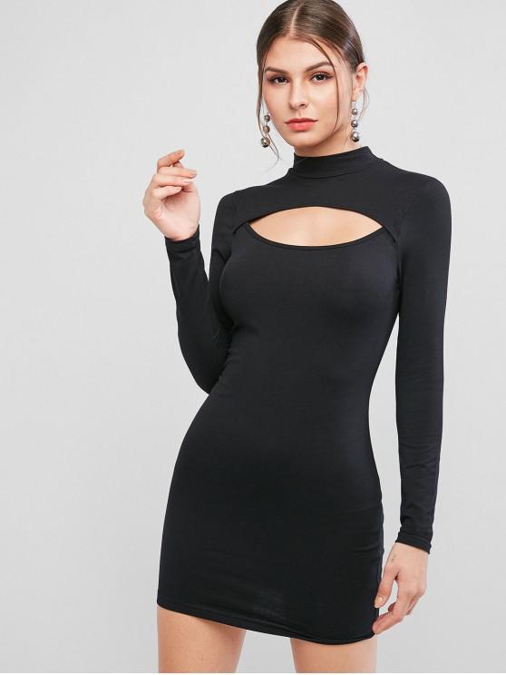 fashion Mock Neck Cut Out Bodycon Dress - BLACK M