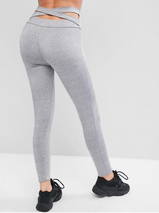 best High Waisted Cross Back Skinny Leggings - LIGHT GRAY XL