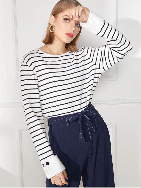 outfit Cuff Sleeve Buttoned Striped Knitted Sweater - MULTI-A S