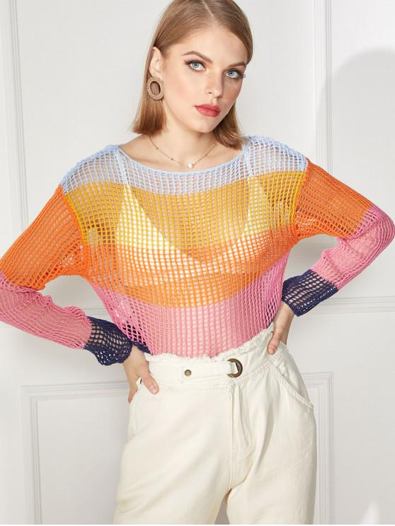 buy Openwork Color Block Sweater - MULTI-A L