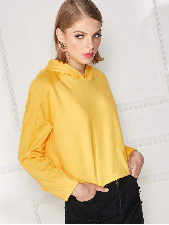outfit Plain Drop Shoulder Boxy Pullover Hoodie - YELLOW 2XL