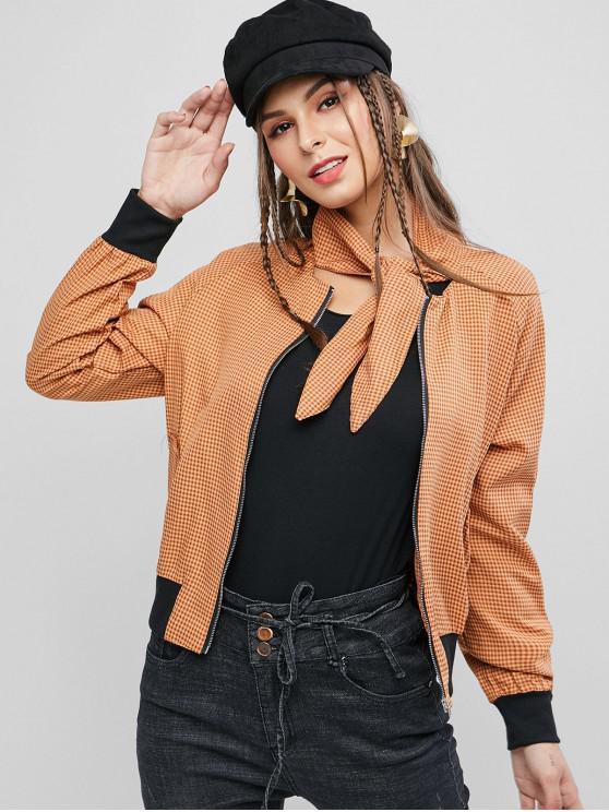 unique Pockets Zip Front Gingham Bow Tie Jacket - LIGHT BROWN L