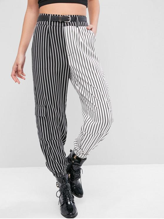 Pantaloni jogger tascabili a righe color block - Multi Colori-A M
