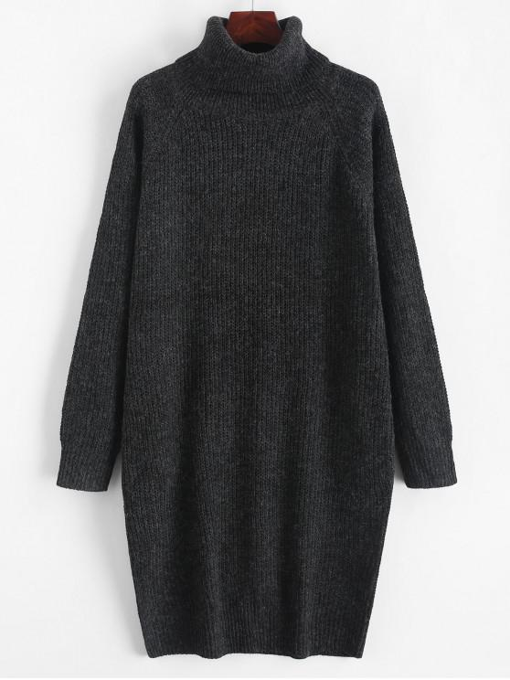 chic Turtleneck Chunky Knit Longline Sweater - GRAPHITE BLACK XL