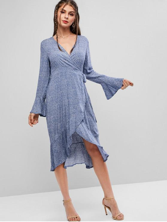 online Printed Flare Sleeve Wrap Midi Dress - BLUE GRAY M