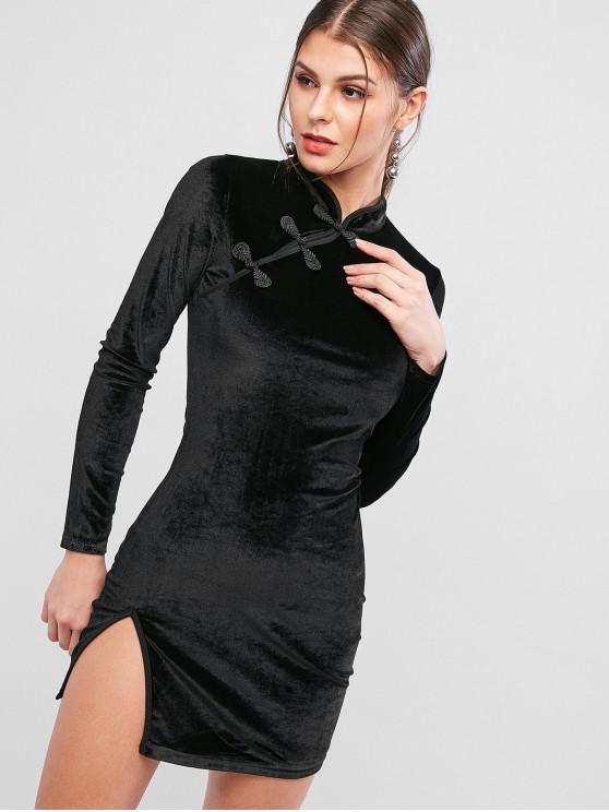 Robe Moulante Fendue en Velours à Col Mandarin - Noir M