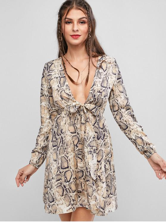 outfits Long Sleeve Snake Print Knot Front Dress - LIGHT BROWN S