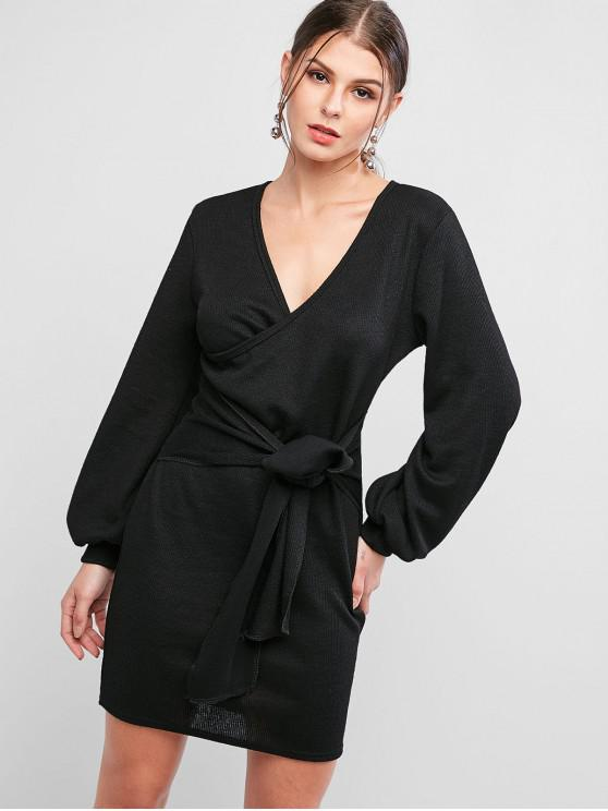affordable Front Tie Lantern Sleeve Surplice Bodycon Dress - BLACK M