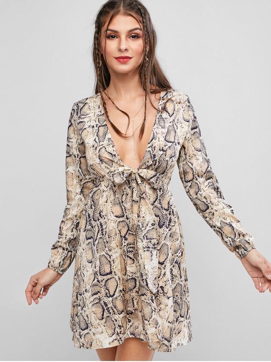 lady Long Sleeve Snake Print Knot Front Dress - LIGHT BROWN M