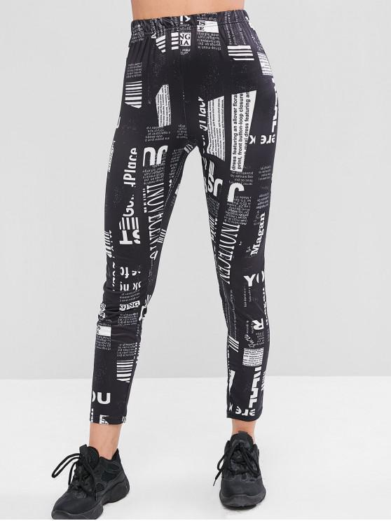 trendy Letter Graphic High Waisted Skinny Leggings - MULTI-A XL