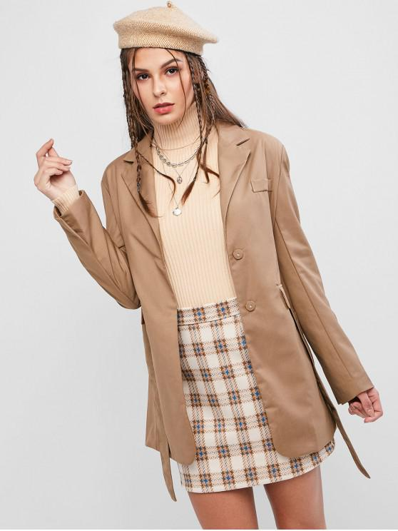 fashion Belted Faux Pockets Single Breasted Trench Coat - BROWN M