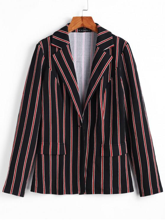 affordable ZAFUL Striped Faux Pockets One Button Blazerr - BLACK L