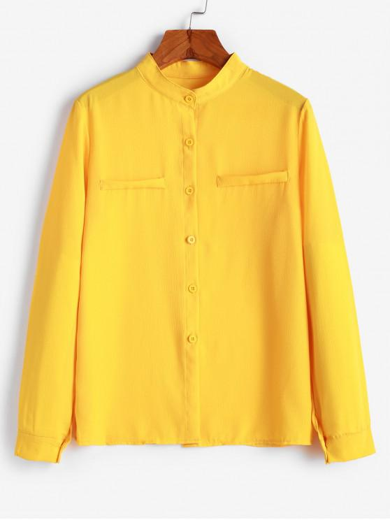 fashion Crew Neck Plain Button Up Work Shirt - BRIGHT YELLOW M