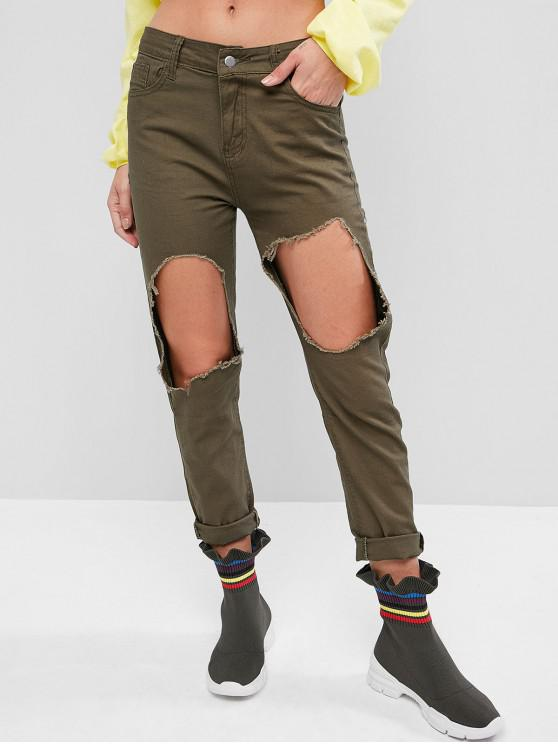 women's Solid Destroyed Cut Out Tapered Pants - ARMY GREEN M