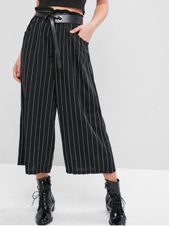 lady Pockets Stripes Wide Leg Paperbag Pants - BLACK XL