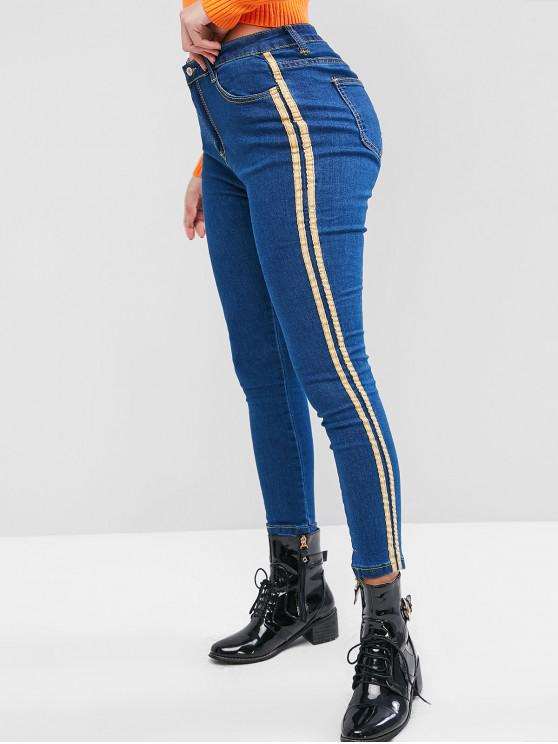 outfit Mid Rise Striped Tape Side Skinny Jeans - BLUE L