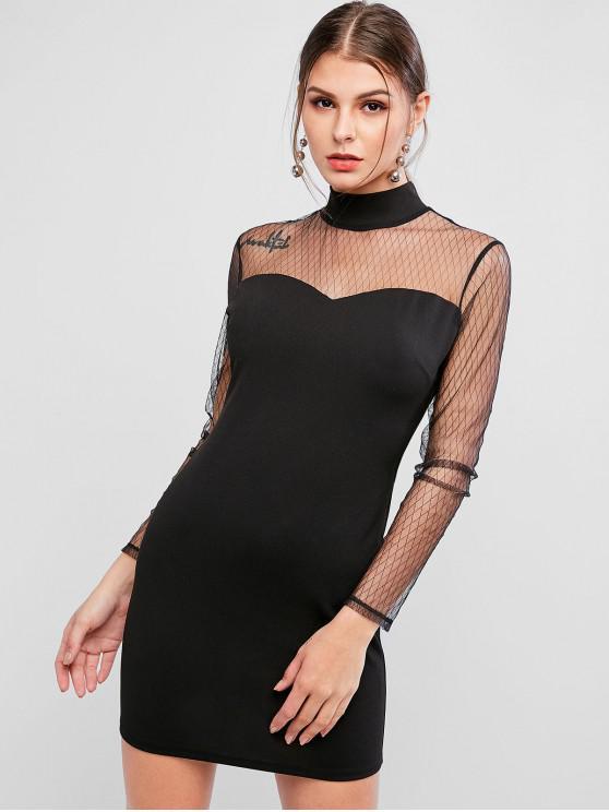 women's ZAFUL Mock Neck Mesh Yoke Bodycon Dress - BLACK S