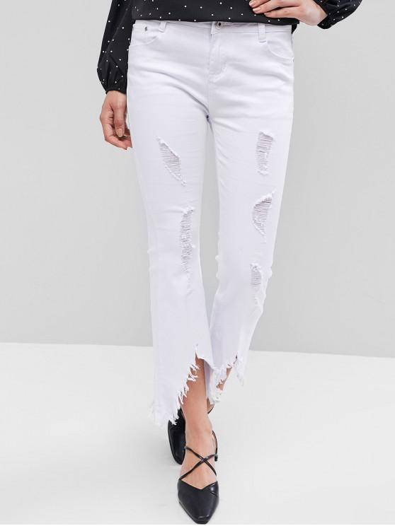 outfits Ripped Bootcut Pants - WHITE M