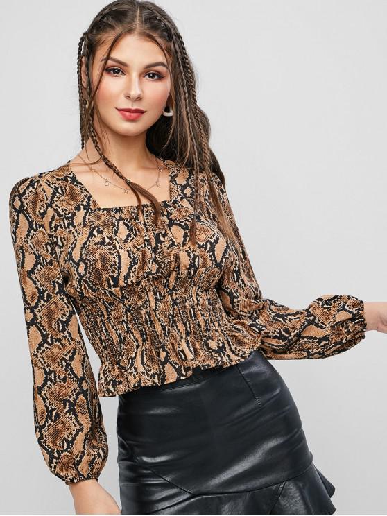 womens Snake Print Shirred Waist Peplum Blouse - LIGHT BROWN L