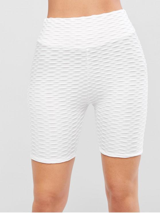ladies Textured Scrunch Butt Solid Biker Shorts - MILK WHITE M