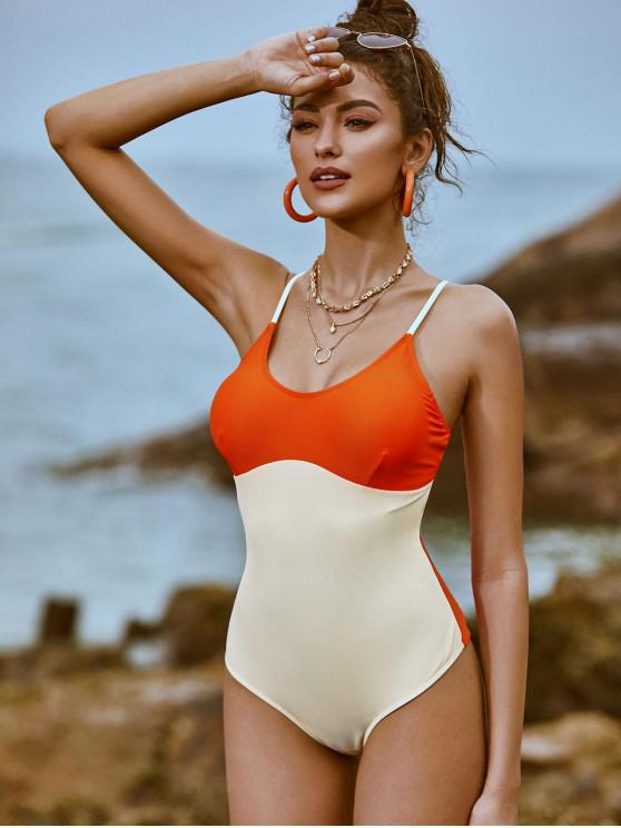 women ZAFUL Two Tone Crisscross One-piece Swimsuit - ORANGE M