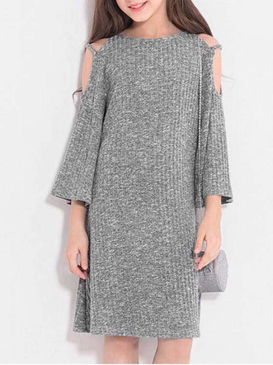 affordable Girls Cold Shoulder Rib Knit Long Sleeve Dress - GRAY CLOUD 160