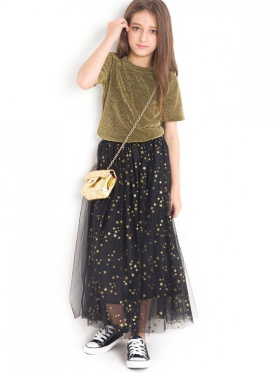 chic Shiny T-Shirt and Star Pattern Tulle Skirt Set - GOLD 140