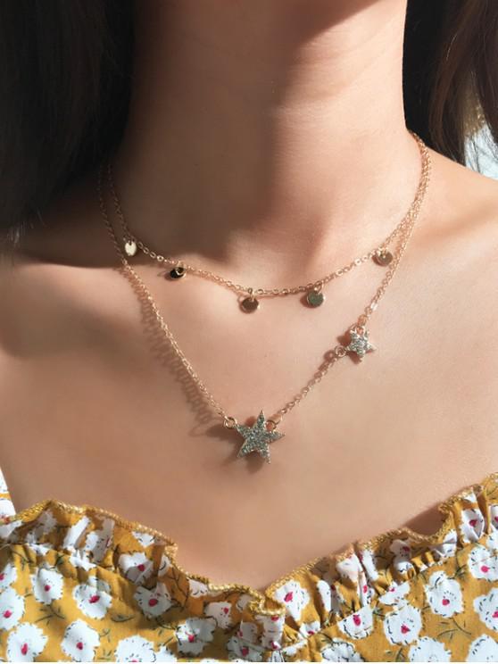 Conjunto de Collar de Clavícula de Estrella de Diamantes de Imitación - Oro