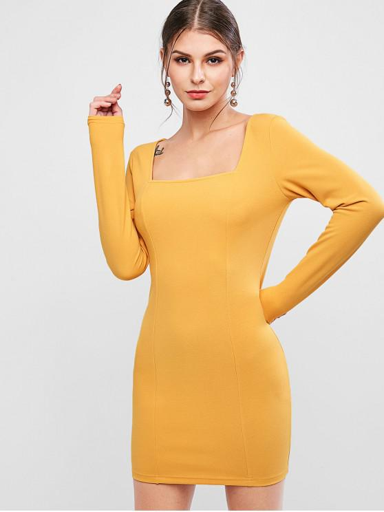 unique ZAFUL Square Collar Long Sleeve Bodycon Dress - BEE YELLOW S