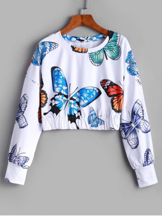 fashion ZAFUL Pullover Gorgeous Butterfly Print Cropped Sweatshirt - WHITE M