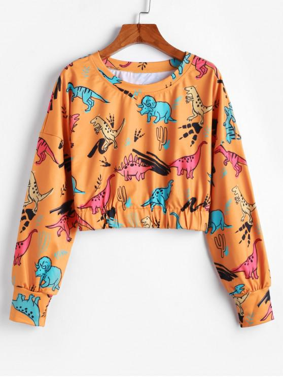 new ZAFUL Pullover Dinosaurs Print Cropped Sweatshirt - BEE YELLOW XL