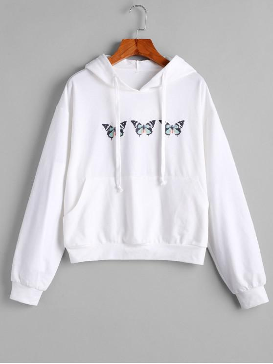 fancy ZAFUL Butterfly Graphic Front Pocket Drawstring Hoodie - WHITE M