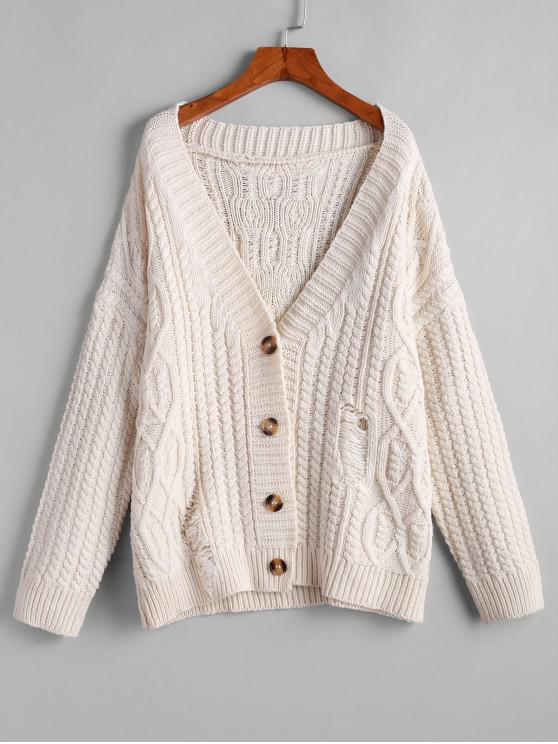 womens ZAFUL Button Up Cable Knit Solid Chunky Cardigan - WARM WHITE M