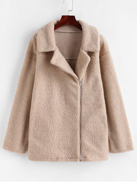 outfit Zip Up Pocket Fluffy Tunic Teddy Coat - LIGHT KHAKI S