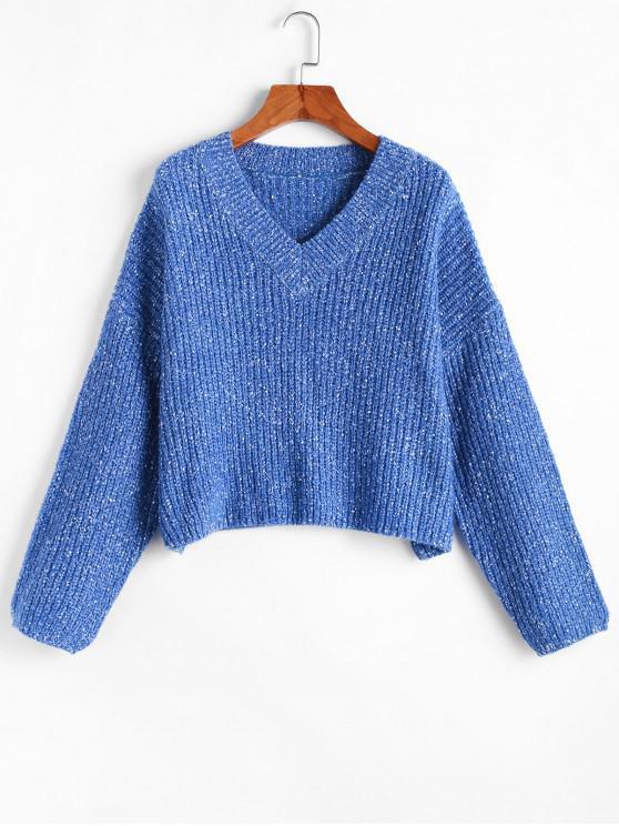 Suéter flojo con cuello en V ZAFUL - Azul de Arándanos S
