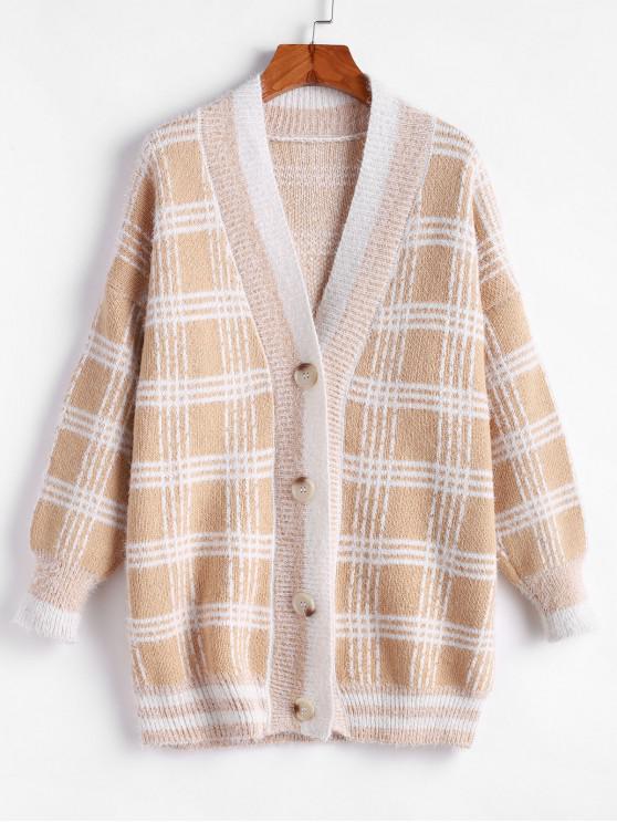 sale Plaid Pattern Drop Shoulder Button Up Cardigan - MULTI-A M