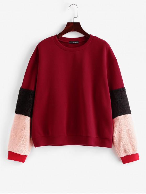 latest ZAFUL Faux Shearling Panel Fleece Lining Sweatshirt - LAVA RED XL