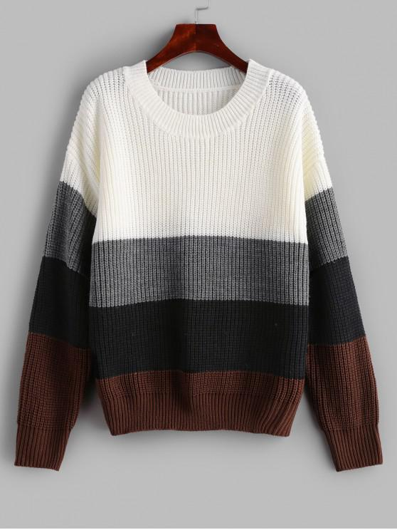 unique ZAFUL Crew Neck Loose Color Block Sweater - MULTI L