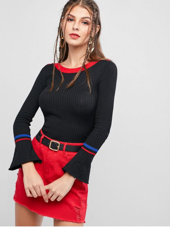 outfits Ribbed Contrast Flare Sleeve Slim Sweater - BLACK ONE SIZE