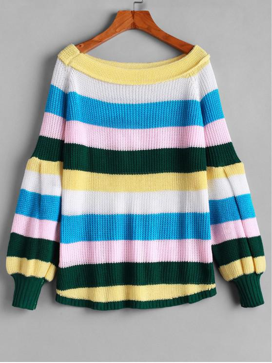 affordable Raglan Sleeve Colorful Stripes Pullover Sweater - MULTI-A XL