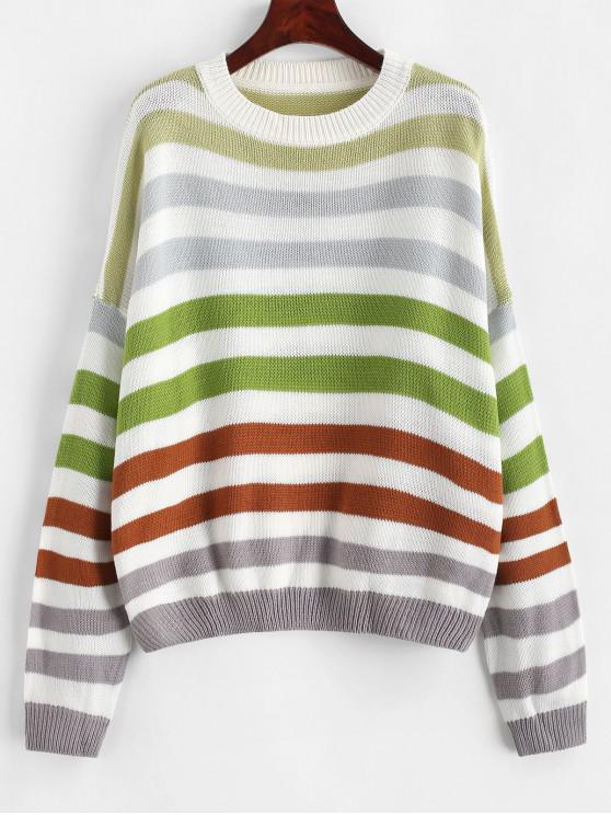 women Contrast Striped Loose Crew Neck Sweater - COFFEE S