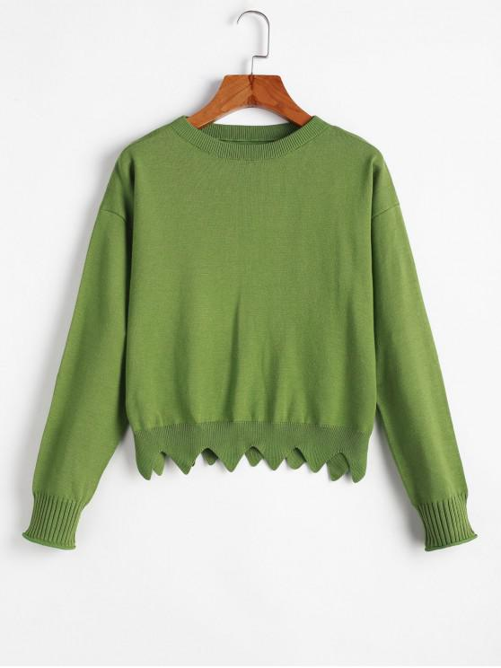 fancy Crew Neck Zig Zag Hem Pullover Sweater - LIGHT GREEN ONE SIZE