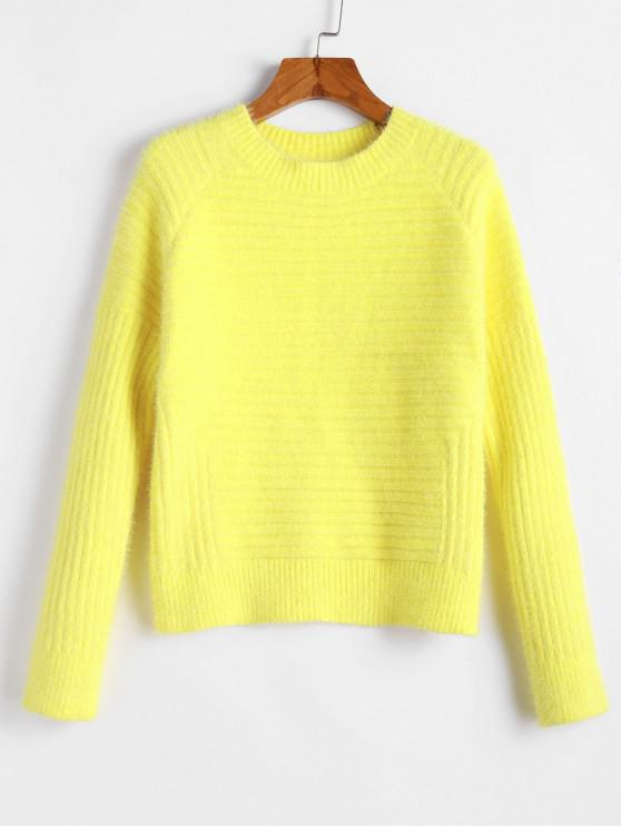 shop ZAFUL Raglan Sleeves Solid Crop Fluffy Sweater - YELLOW M