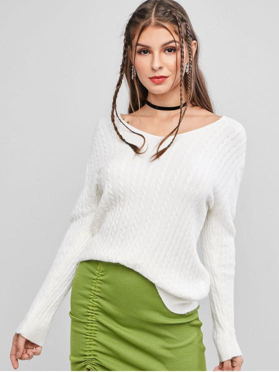 womens Cable Knitted V Neck Solid Sweater - WHITE ONE SIZE